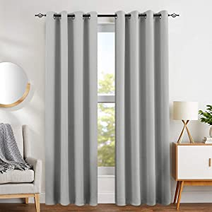 "Blackout Save On Cooling Cost Curtains for Living Room Curtains for Bedroom Light Blocking Triple Weave Draperies Grommet Top 1 Pair 84"" L Grey"