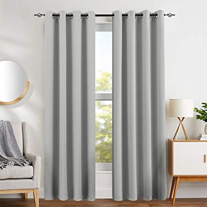 Blackout Save On Cooling Cost Curtains for Living Room Curtains for Bedroom  Light Blocking Triple Weave Draperies Grommet Top 1 Pair 84\