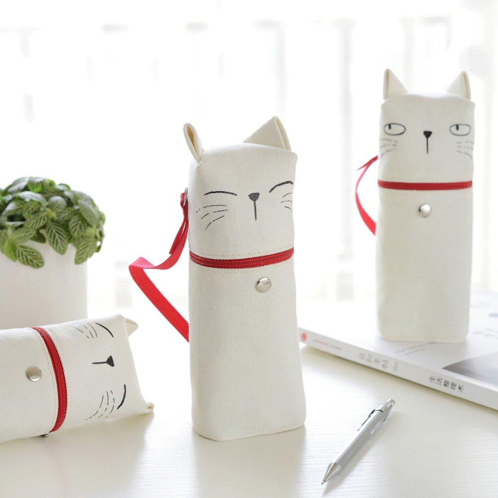 XIDUOBAO Cavas Pencil Pouch Cute Cat Pencil Pen Case Pouch Holder Bag. Set of 1 pcs.
