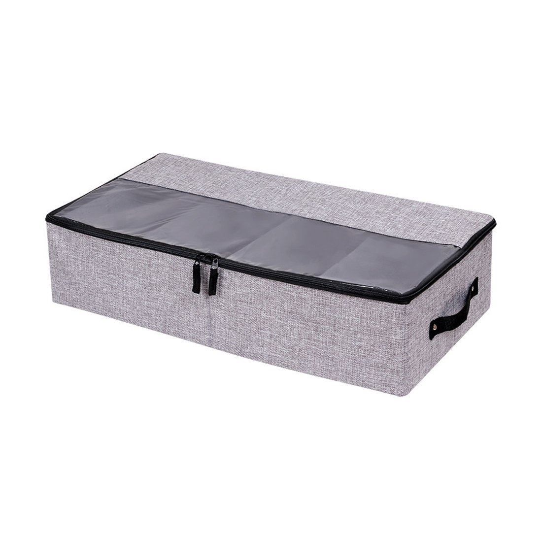 In kds Clothes Shoes Organizer Multifunction Foldable Under The Bed Storage Box with Dust-Proof Lid 4 Compartment (Dark Grey)
