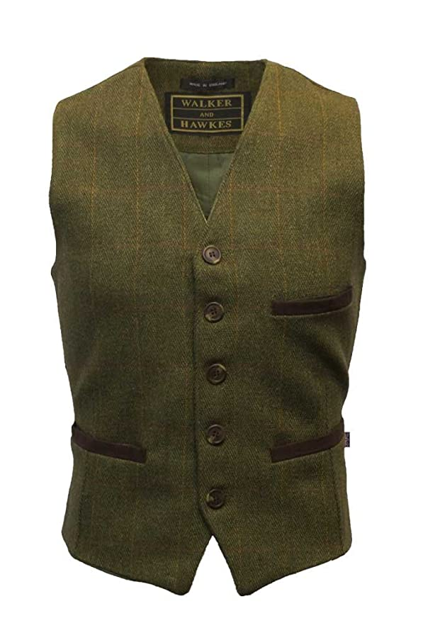 Men's Vintage Inspired Vests Walker and Hawkes Mens Tweed Waistcoat Formal Teflon Dress Gilet $85.66 AT vintagedancer.com