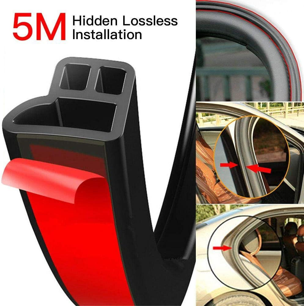 13mm 10mm 5M sundan 5M L Shape Car Weather Stripping Car Window Door Engine Cover Noise Insulation Universal Self Adhesive Auto Door Rubber Draft Seal Strip