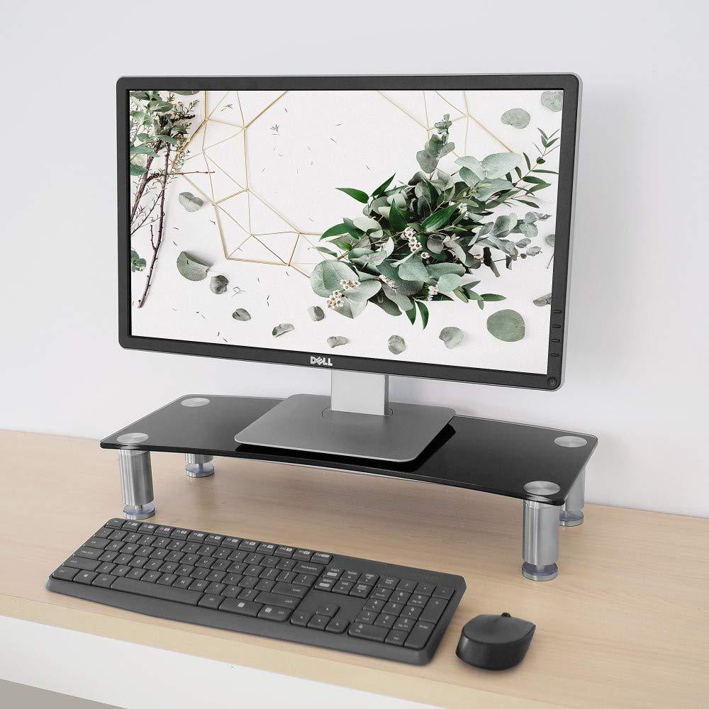Monitorst/änder f/ür Schreibtisch 56 x 24 cm Laptops und Fernseher h/öhenverstellbar Bildschirmerh/öhung f/ür Computer schwarzes gebogenes Glas mit Aluminiumbeinen