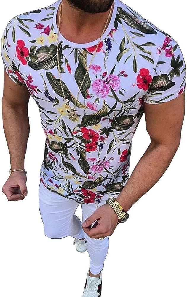 Pukemark Mens Summer Casual Slim Fit Short Sleeve Floral Graphic Hawaiian T-Shirts Tops