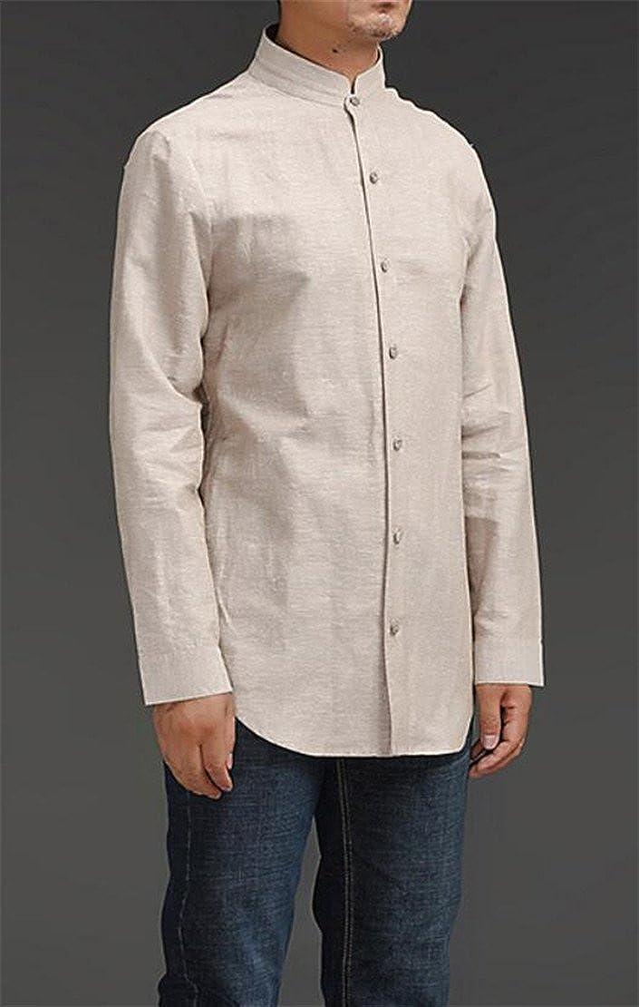 YYear Mens Classic Buttons Mandarin Collar Linen Chinese Style Shirts