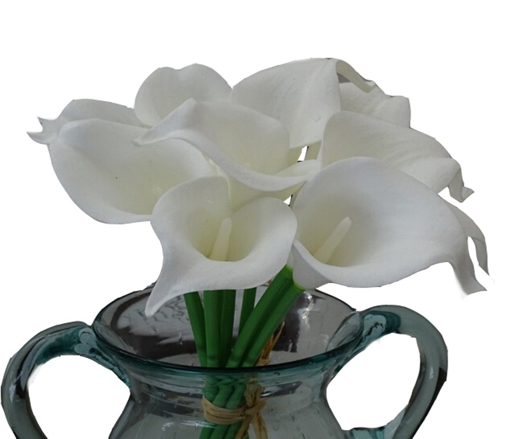 Flyusa 10 Pcs Calla Lily Bridal Wedding Bouquet Head Real Touch Flower Bouquets Artificial Flowers for Home Party Decoration(White)