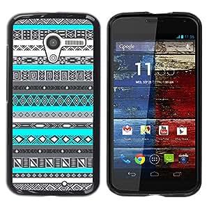 For MOTO X / XT1058 / XT1053 / XT1052 / XT1056 / XT1060 / XT1055 Case , Indian Pattern Native American Blue - Diseño Patrón Teléfono Caso Cubierta Case Bumper Duro Protección Case Cover Funda