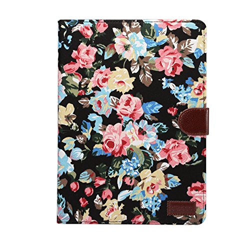 TechCode iPad Mini 4 Case Flip, Luxury PU Leather Retro Flower Case Folio Stand Case Book Cover Wallet with Card Slots & Cash Pockets Magnetic Smart Protective Cover for iPad Mini 4 7.9 inch(Black)