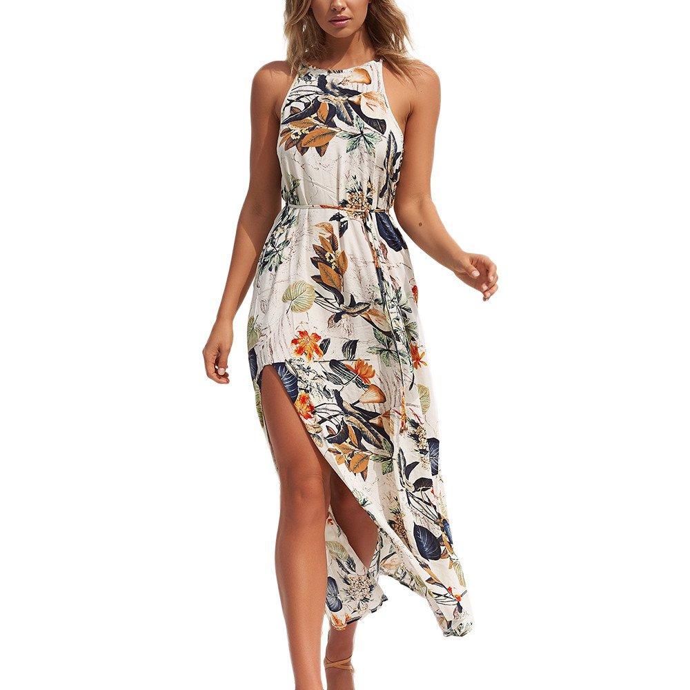 c692d9d47797 Sonnena Women Casual Dress Summer Beach Floral Flower Long Sleeveless Bohe  Sexy Halter Leaves Skirt  Amazon.co.uk  Clothing