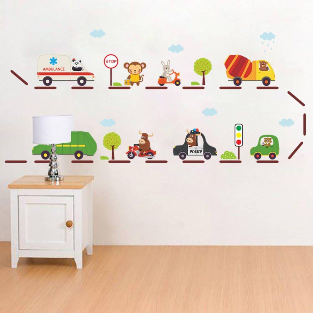 BIBITIME Cartoon Nursery Wall Decals Road Car Truck Traffic LightsGO Sign Vinyl Sticker for Kids Room Children Bedroom PVC Decorations DIY 62.20 x 14.96