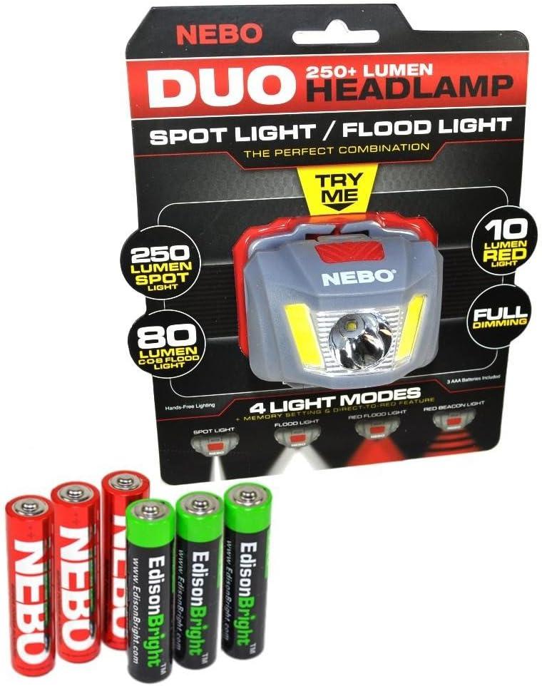 Nebo Duo 250 lumen LED headlamp 6444 flood/spot/red/signal modes, with 3 X EdisonBright AAA Alkaline batteries bundle