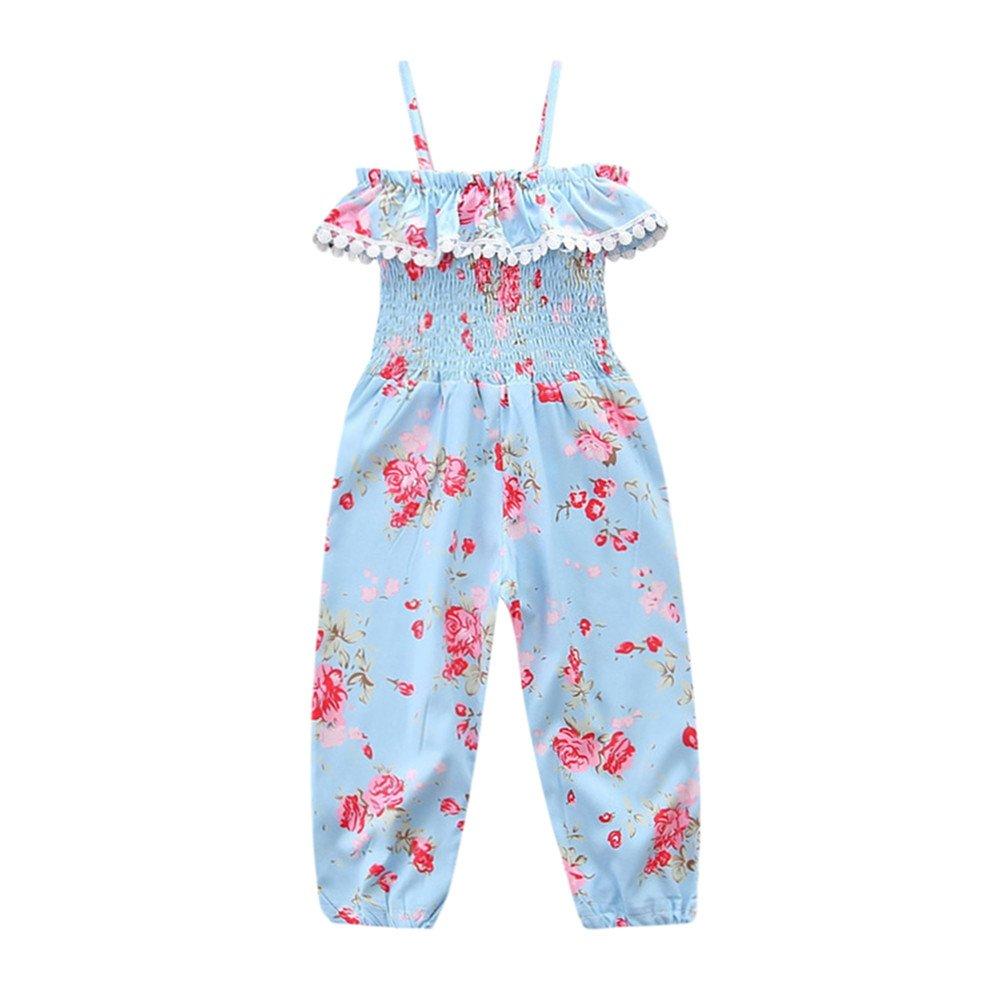 Summer Loose Childrens Jumpsuit Girls Casual Floral Decoration Tassel Lotus Leaf Side Elestic Jumpsuit Pajamas