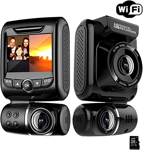 Dual Dash Cam for Cars – Front and Rear 1080P FHD Car DVR Dash Camera Recorder with WiFi ,150 Wide Angle, Super Night Vision, G-sensor WDR, Loop Recording