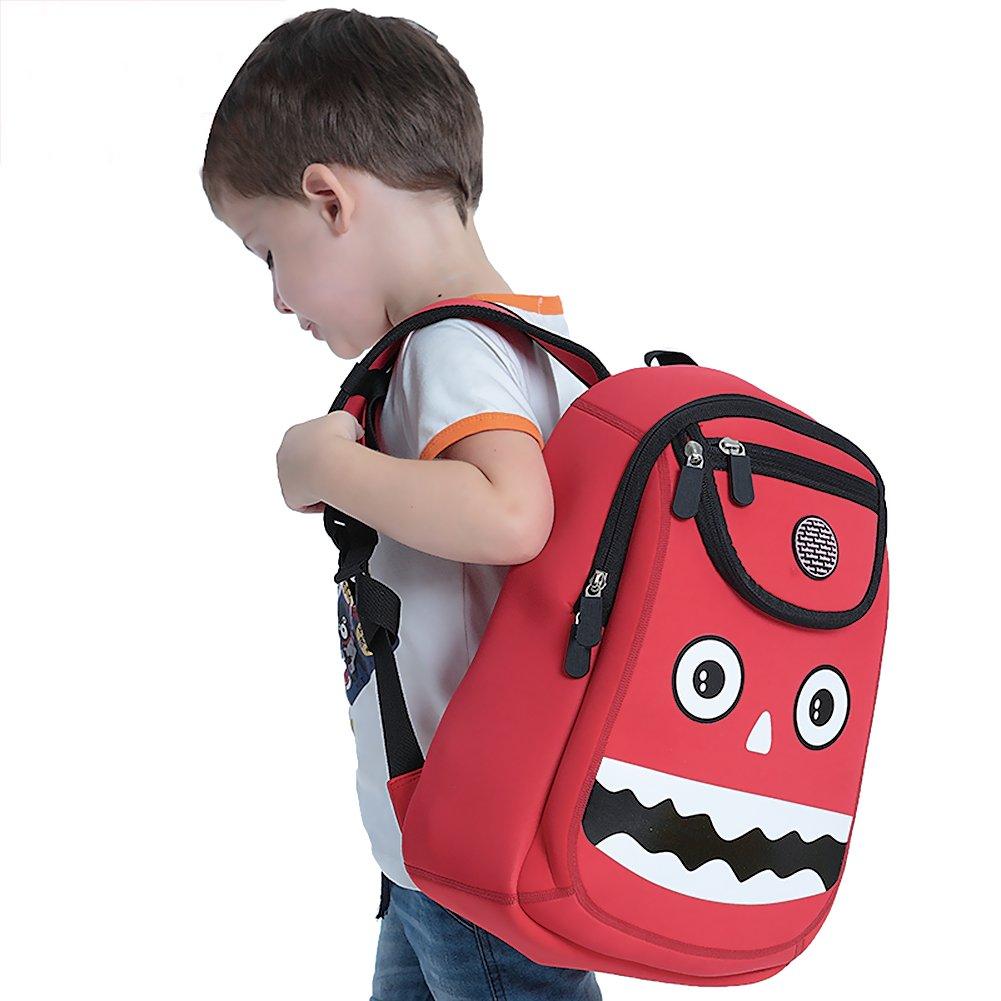OFUN Kids Backpack, Toddler Backpack for Boys, 3D Monster Backpack Large School Bags, Red