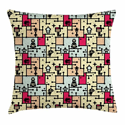 Ambesonne Space Throw Pillow Cushion Cover, Geometric Grid Design with Stripes Dots Retro Background Fantastic Robot Pattern, Decorative Square Accent Pillow Case, 36 X 36 Inches, Multicolor (Retro Pattern Squares)