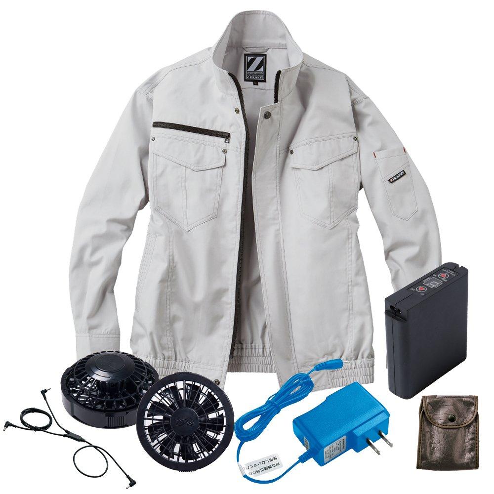 空調服 Z-DRAGON ブルゾン黒ファンバッテリーセット 74012 自重堂 B07D6B4YYV LL|36シルバー 36シルバー LL