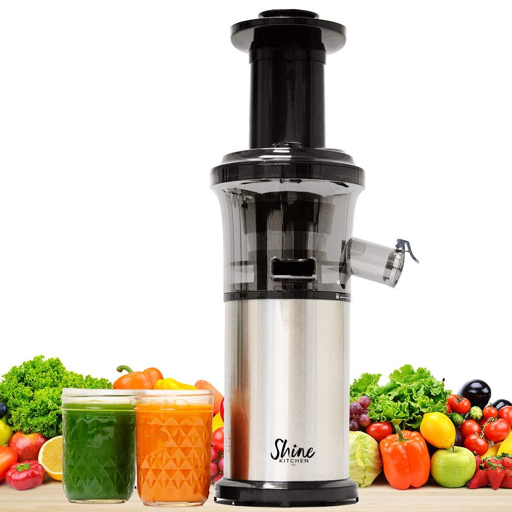 Shine Kitchen Co. by Tribest SJV-107-A Slow Juicer, 5.5 x 5.2 x 19.5, Silver, Black by Shine Kitchen Co. by Tribest
