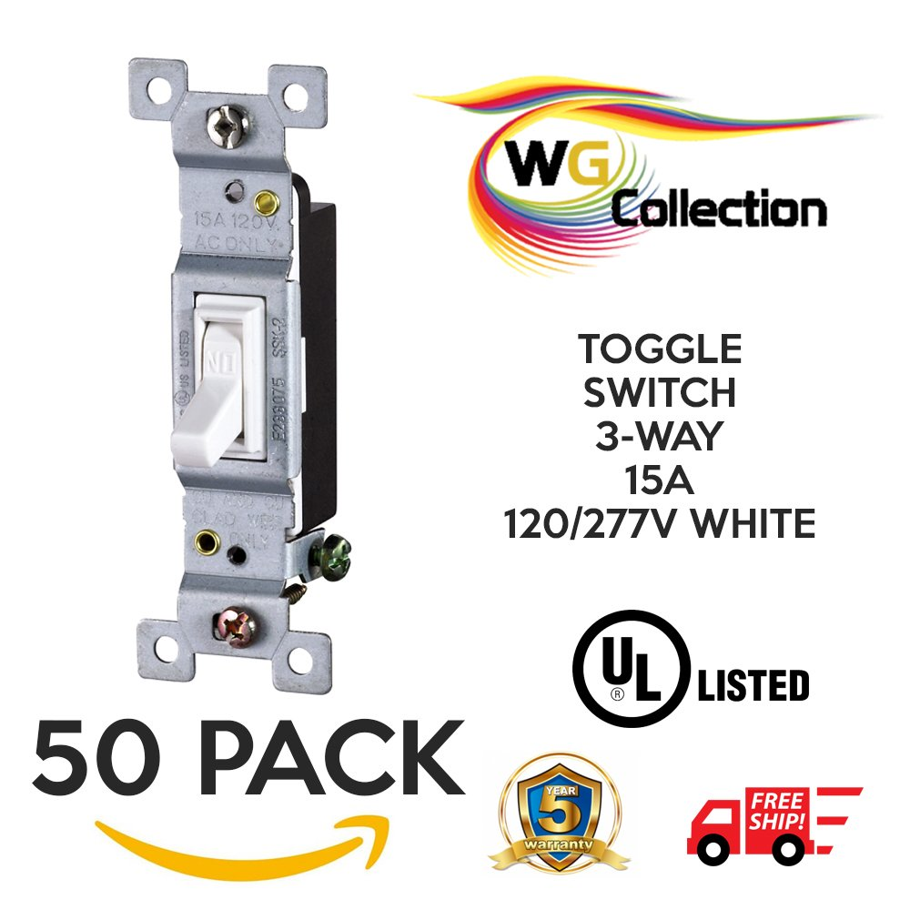 Wg Collection Residential Grade Lighted Toggle Switch 3 Way 15a Optical Interrupter Circuit 120 277v White Perfect For And Commercial Use 5 Pack
