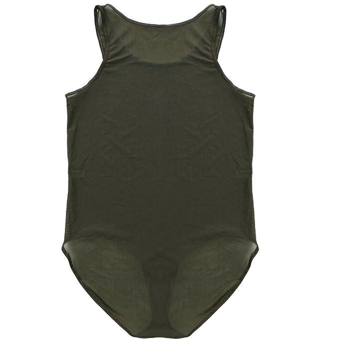 One-piece Mens Sleeveless Bodysuit Boxer Briefs Smooth Leotard Thongs Underwear