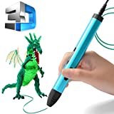 3D Printing Pen, Upgrade Intelligent 3D Pen, 3D Doodle Pen with Low Temperature Safety Holder, 3D Pencil for 3D Arts & Crafts Drawing and Doodling with Free PCL Filament (Blue)