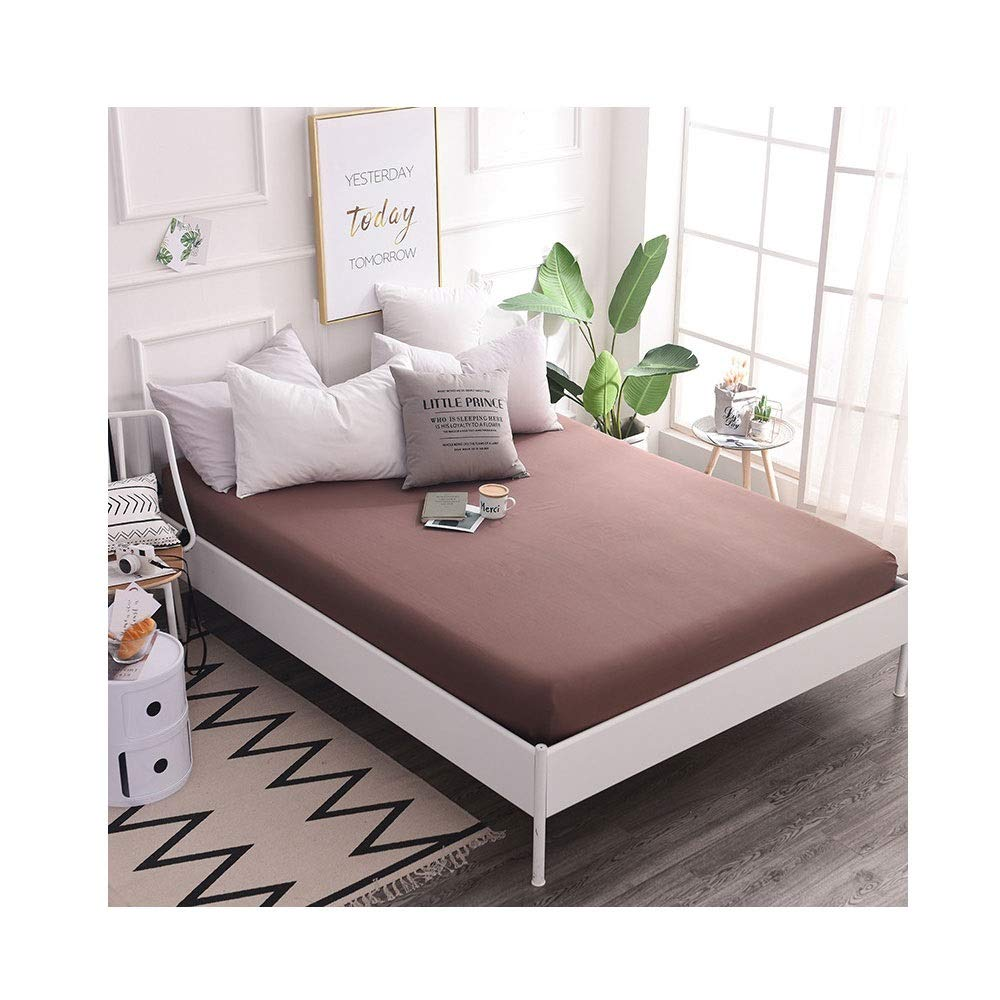 Count Cotton Emperor Fitted Sheets/Thread Count Fitted Sheet /100% Egyptian Cotton Fitted Sheet,30CM Deep Finest Quality Bedsheets 13 Colours (Color : Brown, Size : 150x200cm+30cm) by QWERTY
