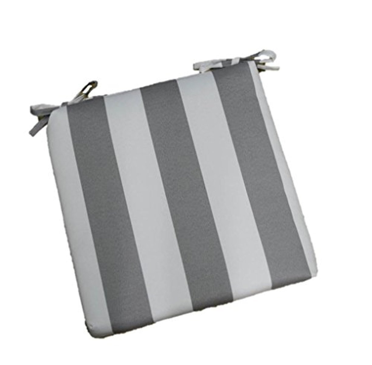 Resort Spa Home Decor Indoor Outdoor Gray and White Stripe Universal 2 Thick Foam Seat Cushion with Ties for Dining Patio Chair – Choose Size