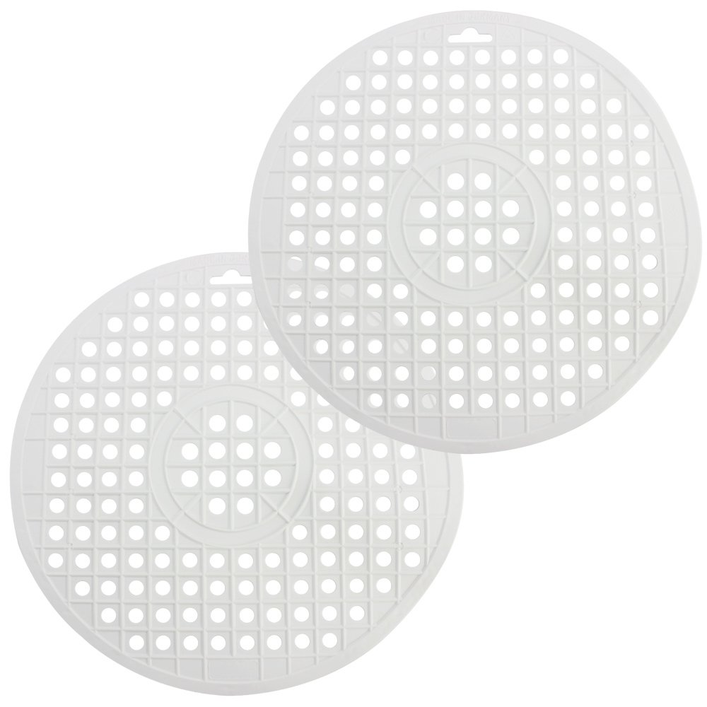 COM-Four 2X Sink Basin Round in Brown, Sink mat Protects The Surface of The Sinks and The Dishes, Ø 32 cm (Brown - 2 Pieces)