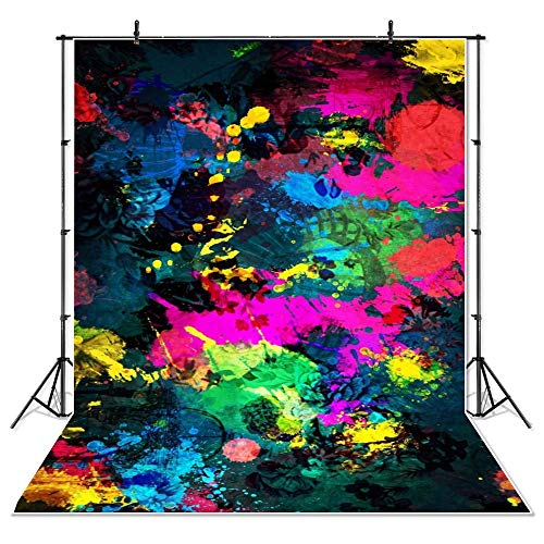 Mehofoto Glow Neon Graffiti Backdrop Neon Glowing Party Background 5x7ft Vinyl Graffiti Painting Abstract Backdrops Banner Supplies Decoration
