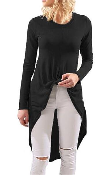 7107f31efb62b Kerlana Mujer Camiseta Casual De Manga Larga ElegantesCamisas Slim Blusas  Largas del Irregular Modernas Camisetas de Manga Larga  Amazon.es  Ropa y  ...