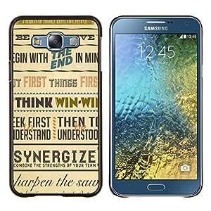 YiPhone /// Prima de resorte delgada de la cubierta del caso de Shell Armor - Sinergia Piense Ganar cartel inspirador Retro - Samsung Galaxy E7 E700
