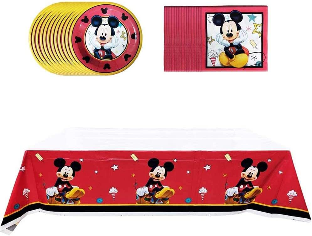 HChiy Lovely Mickey Birthday Party Supplies,Includes 20 Paper Plates-20 Napkin-1 Table Cloth Serves 20 Guest,Mickey theme party birthday party supplies