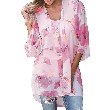 QHDZ Bikini de playa con estampado floral Bikini Beach Cover Up Camisas Kimono Cardigan Top Blusa de mujer de moda: Amazon.es: Ropa y accesorios
