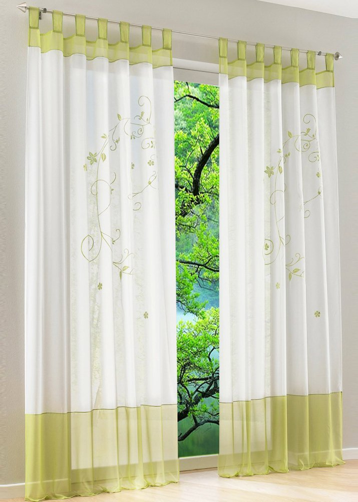 LivebyCare 1pcs Flowers Embroidery Sheer Window Curtain Panel Drape Treatment Tap Top Voil Drapery Room Divider Partition Decorative Vanlance Pelmet for Wedding Family Room Hotel