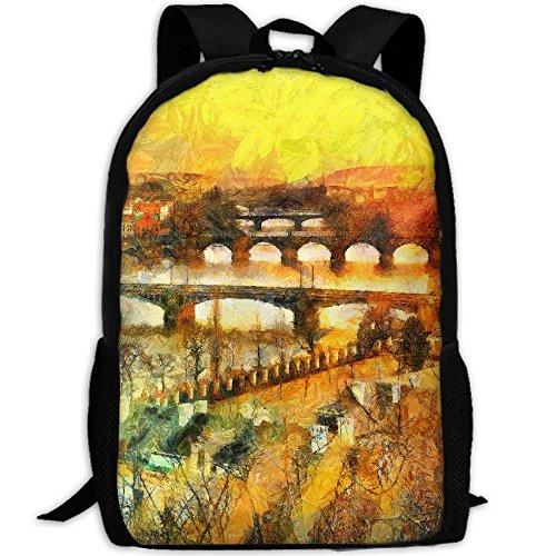 Prague Bridges Oil Painting Interest Print Custom Unique Casual Backpack School Bag Travel Daypack - Sunglasses Prague