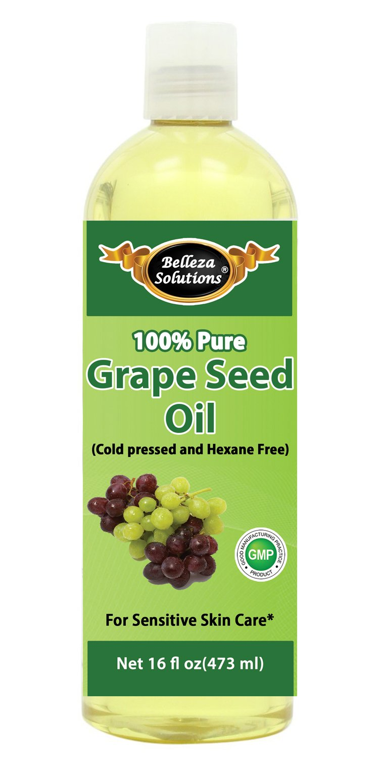 Belleza Solutions Grapeseed Oil 16 OZ - 100% Pure Cold pressed and Hexane free -
