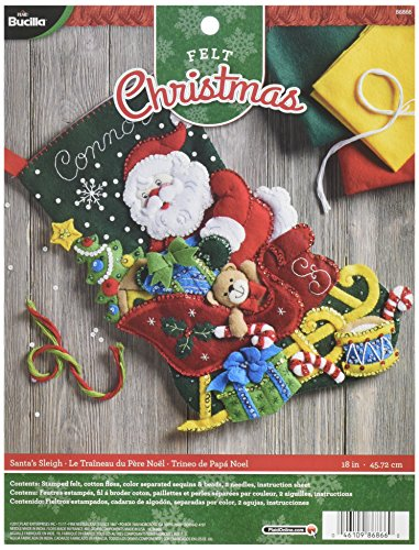 Felt Stocking Kit Santa - Bucilla 86866 Santa's Sleigh Stocking Kit, Multicolor
