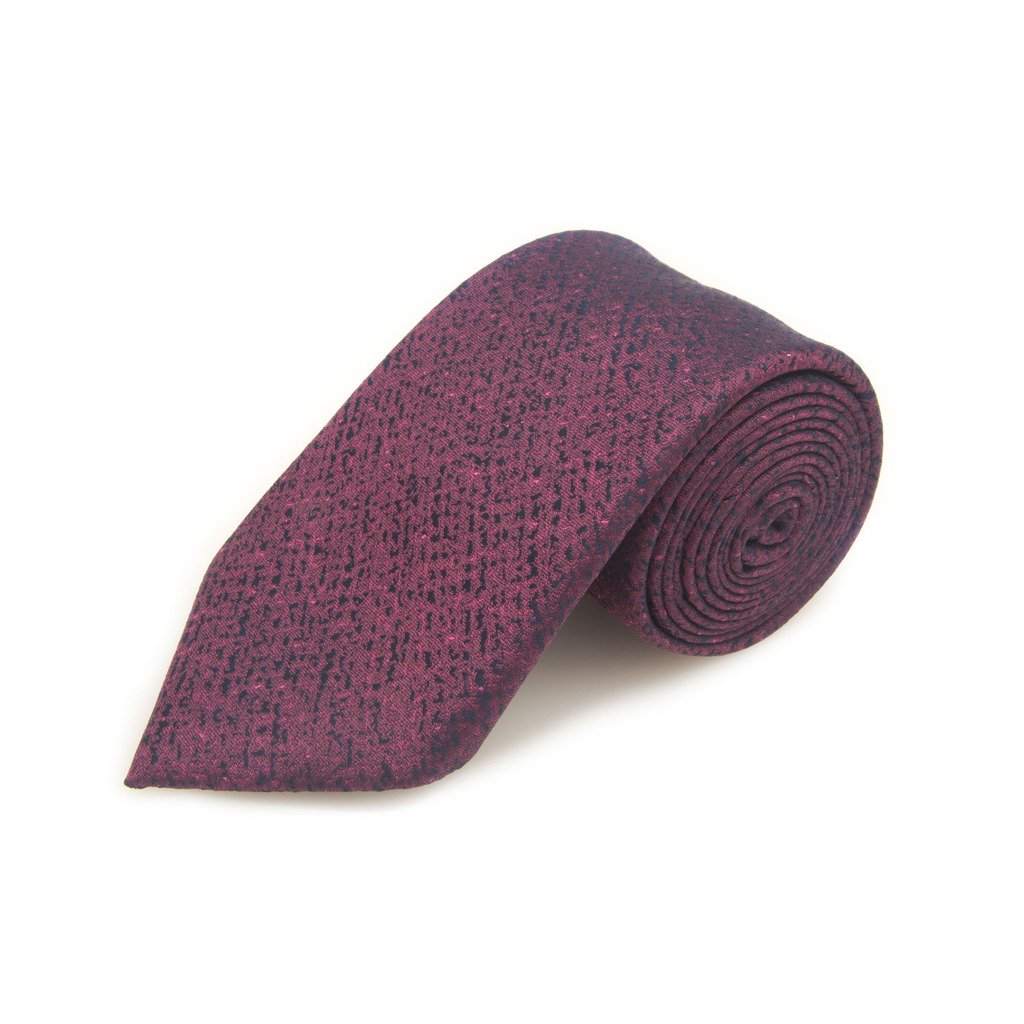 Santorelli Berry And Navy Fancy Solid Woven Silk Tie