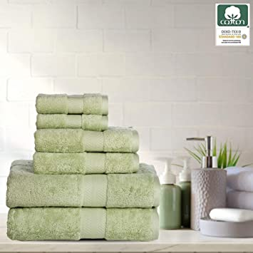 Amazon Com 6 Piece Towel Set 100 Cotton 700 Gsm Super Soft Fluffy Plush Quick Dry Highly Absorbent Bathroom Shower Spa Quality Towel Set Seafoam 2 Bath Towels 2 Hand Towels 2 Washcloths Home Kitchen