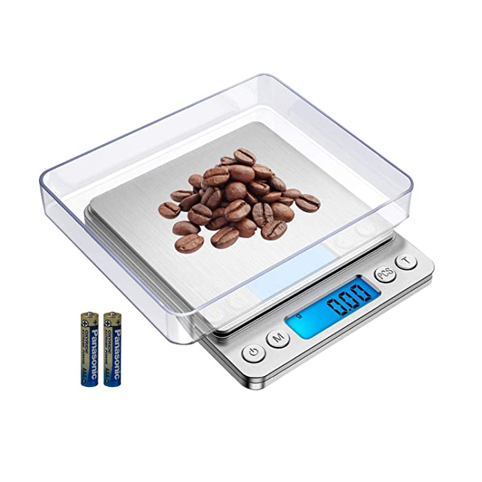FOXLVDA Digital Food Scale, Weight Grams and oz Kitchen Scale with Bowl, 500g/0.01g Precision Have Peeling and PCS Functions,for Weight Loss,Jewelry, Stainless Steel Platform Pocket Scale(500gx0.01g)