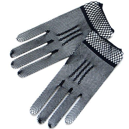 ZaZa Bridal Stylish Crochet Gloves w/Delicate trim-Victorian+Regency-Black