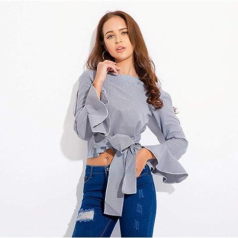 Cnsdy Camisas para Mujeres Estilos Cortos Vendas Camisas a Rayas Camisetas para Mujer: Amazon.es: Deportes y aire libre