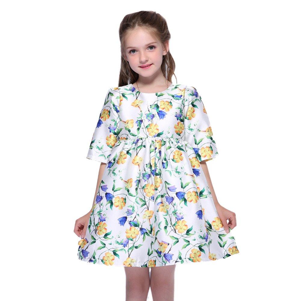 Kseniya Kids Big Little Girls Medium Sleeve Dresses Girl Flower Dress For Party And Wedding (3-4y)
