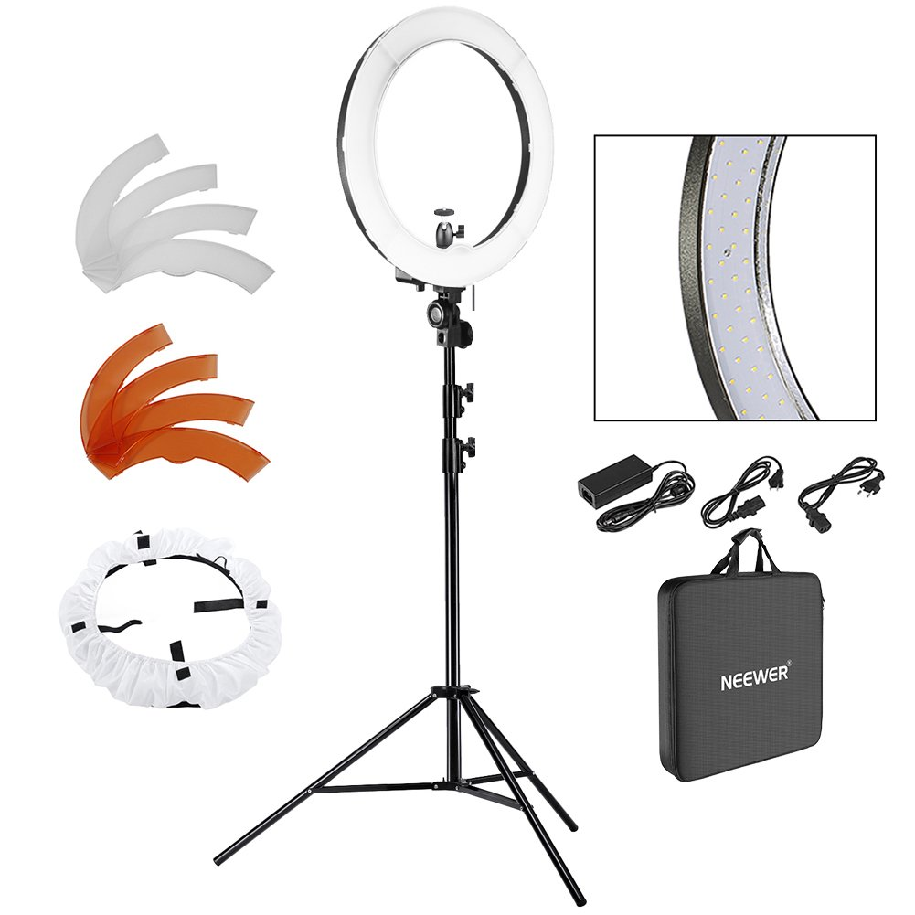 Neewer 18' LED Ring Light Dimmable for Camera Photo Video,Make Up, Youtube, Portrait and Photography Lighting, Includes(1) Ring Light+(1)9 Feet Heavy Duty Light Stand+(1) Soft & Orange Filter Set