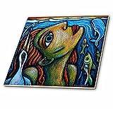 3dRose ct_21130_1 Surfacing Fine Art Colorful Fish Bird Water Ocean-Ceramic Tile, 4-Inch
