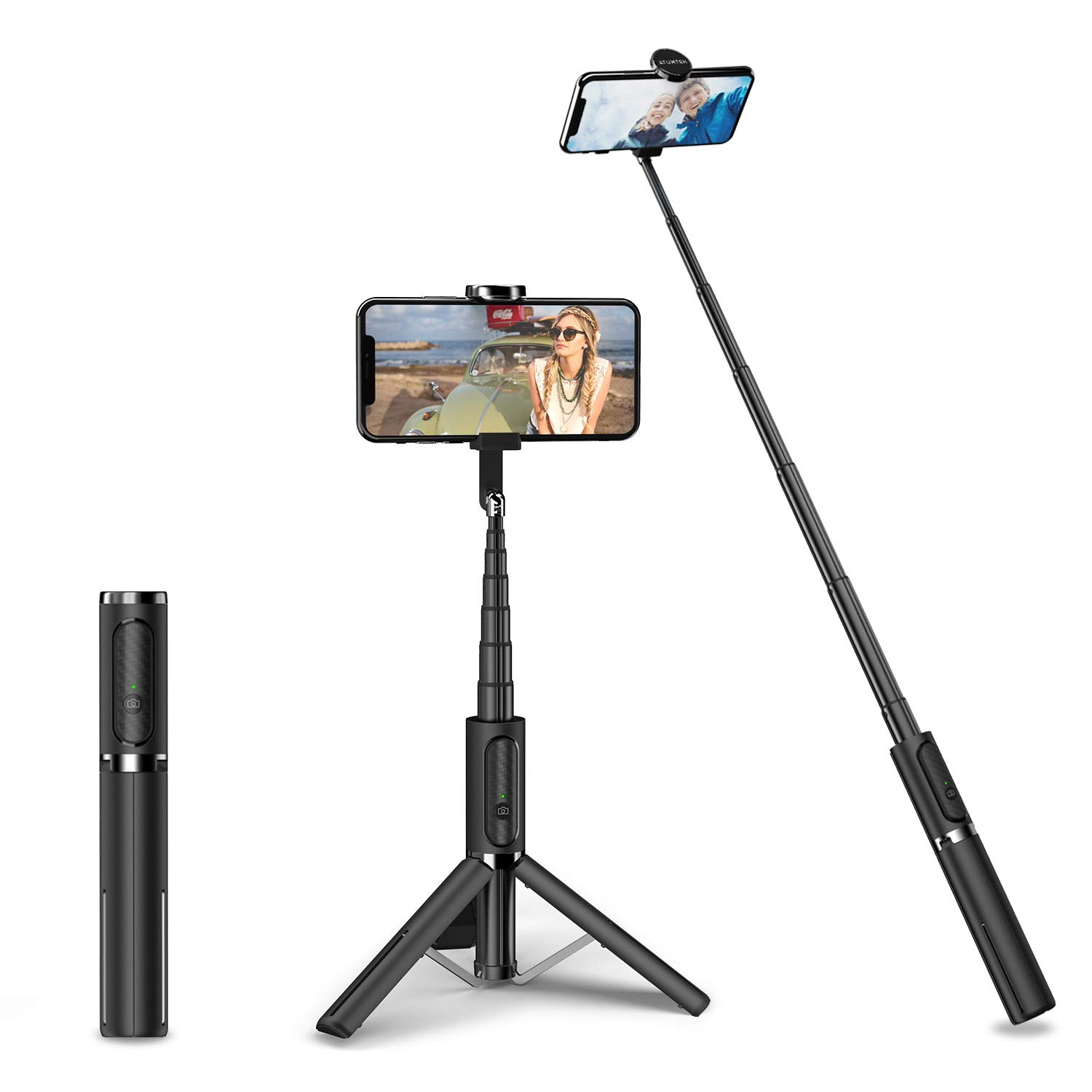 ATUMTEK Bluetooth Selfie Stick Tripod, Mini Extendable 3 in 1 Aluminum Selfie Stick with Wireless Remote and Tripod Stand 270° Rotation for iPhone Xs Max/XS/XR/X/8 Plus/8, Samsung and Smartphones by ATUMTEK