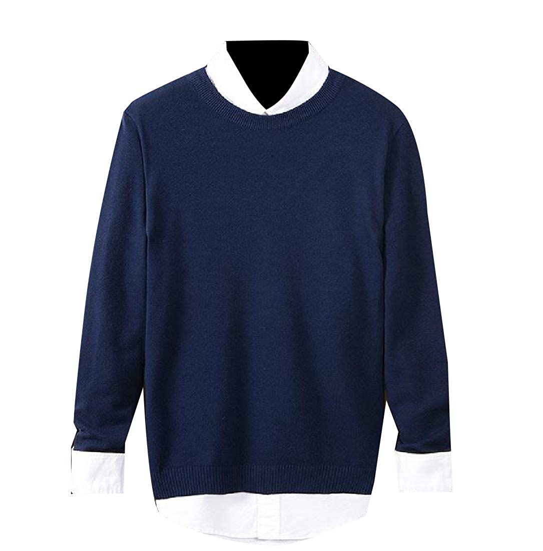 YUNY Mens Soft Pure Color Fall Winter Long Sleeve Knit Pullover Sweater Navy Blue S