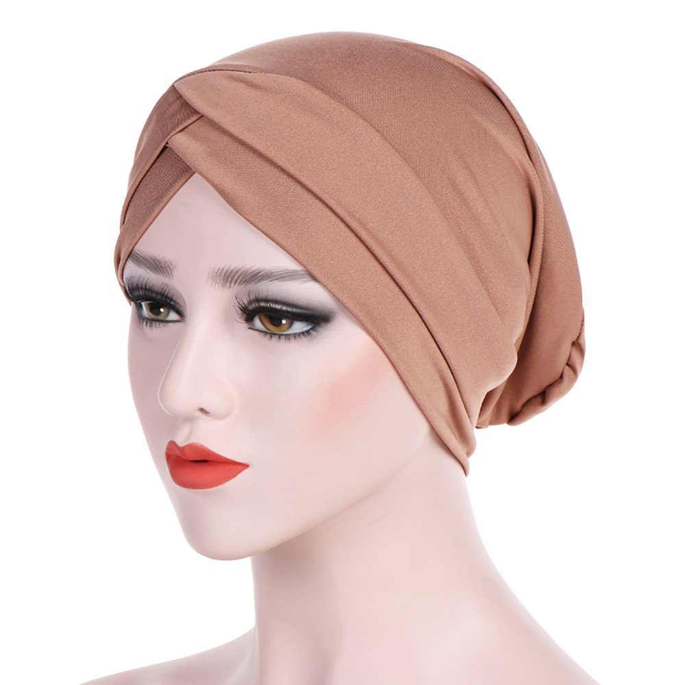WYTong New Arrival! Women Muslim Hijab Cap Ladies Turban Hat Solid Color Stretch Soft Headwrap Headwear(Khaki)
