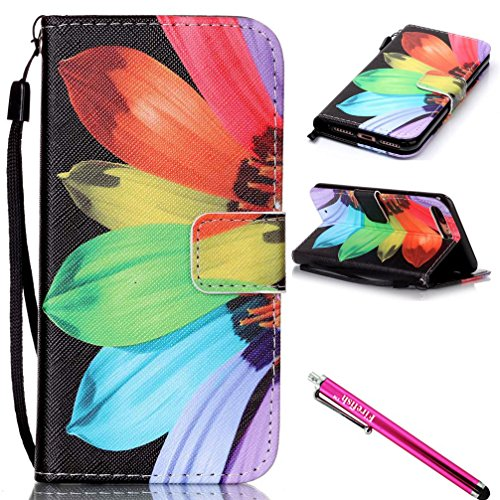 Firefish Kickstand Card Slots Cash Holder Dual Layer Impact Resistant Case Cover with Wrist Strap Magnetic Snap Closure for Apple iPhone 7 Plus (2016 released)-Sunflower ()