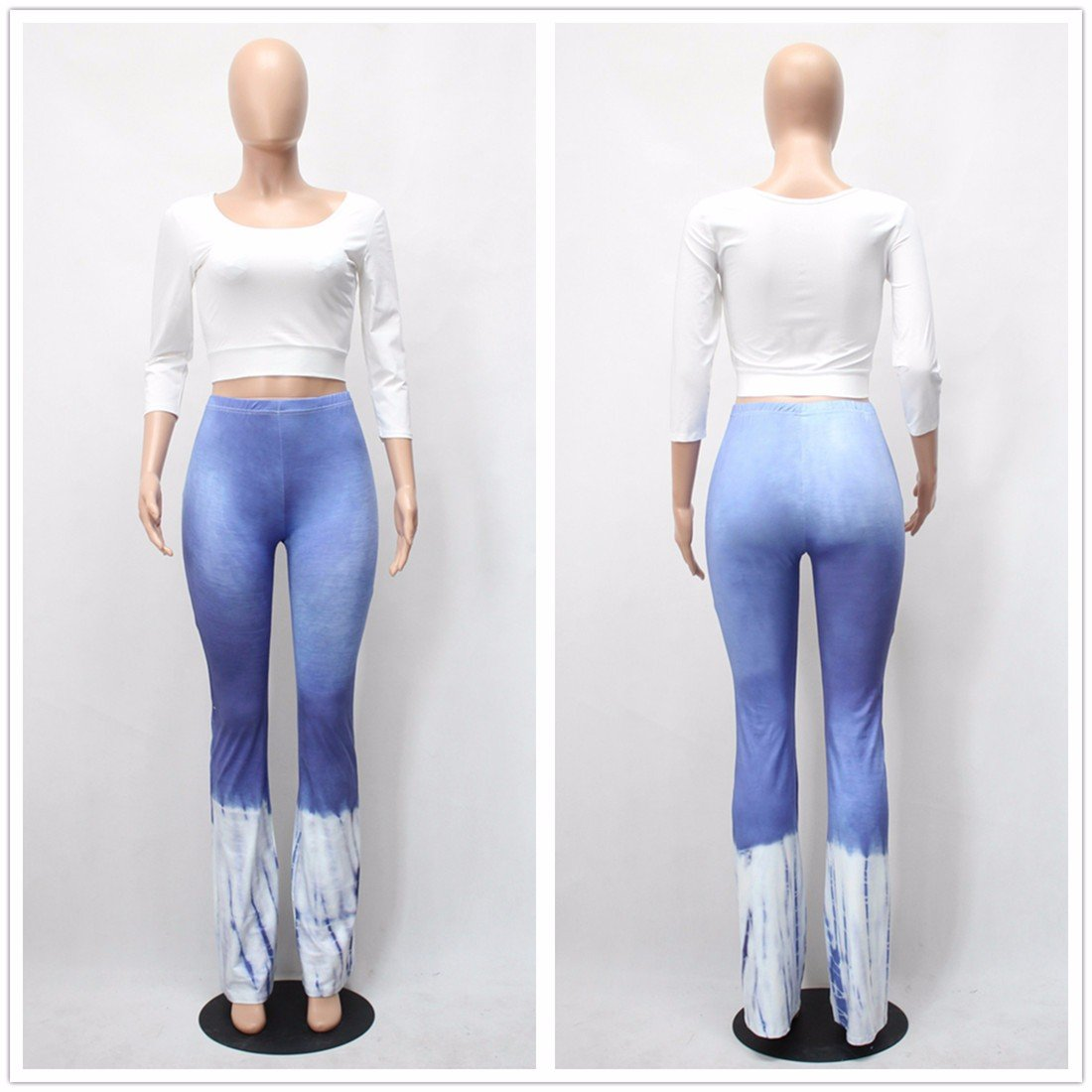 Women Crop Top Bell-Bottoms Flare Leg Long Pant Bandage High Waist Suit Tops