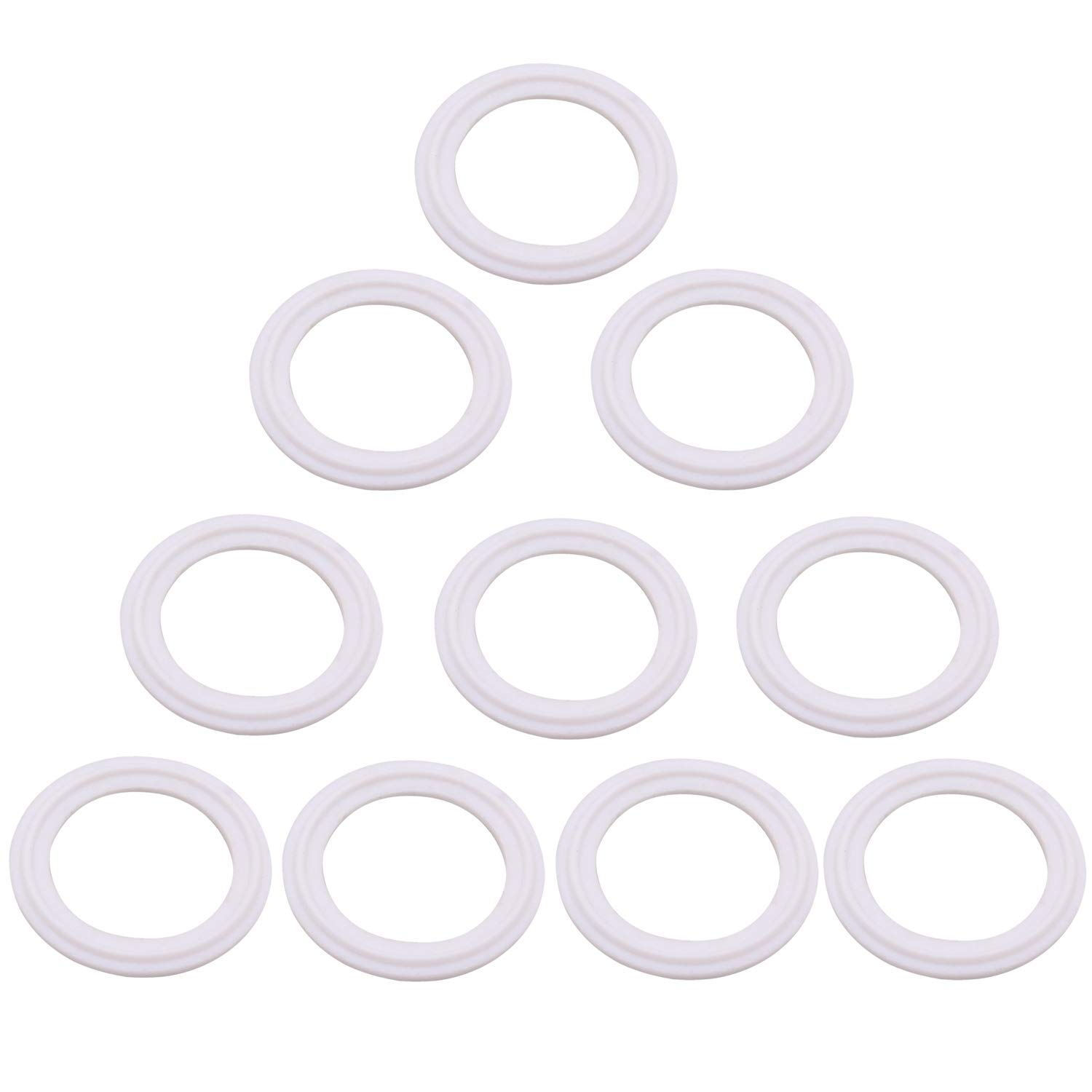 Dernord PTFE (Teflon) Tri-Clamp Gasket O-Ring - 1.5 inch Style Fits OD 50.5MM Sanitary Pipe Weld Ferrule (Pack of 10)
